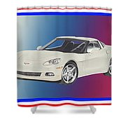 Corvettes In Red White And True Blue Shower Curtain
