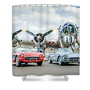 Corvettes With B17 Bomber Shower Curtain