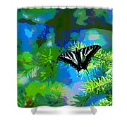 Cosmic Butterfly In The Pines Shower Curtain