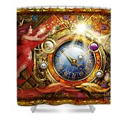 Cosmic Clock Shower Curtain by Ciro Marchetti
