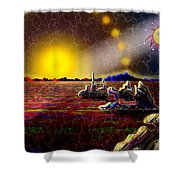 Cosmic Signpost Shower Curtain