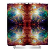 Cosmic Spine Deep Space Reflection Shower Curtain
