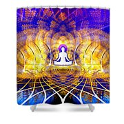 Cosmic Spiral Ascension 18 Shower Curtain by Derek Gedney