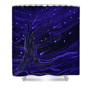 Cosmic Tree Blue Shower Curtain