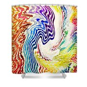 Cosmic Waves Vertical Shower Curtain