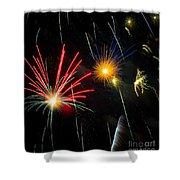 Cosmos Fireworks Shower Curtain