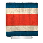 Costa Rica Flag Vintage Distressed Finish Shower Curtain