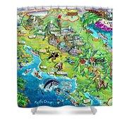Costa Rica Map Illustration Shower Curtain
