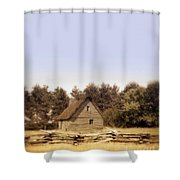 Cottage And Splitrail Fence Shower Curtain