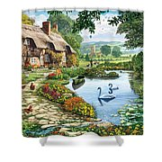 Cottage By The Lake Shower Curtain