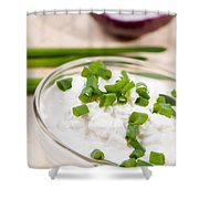 Glass Bowl Of Cottage Cheese With Chives  Shower Curtain