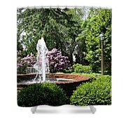 Cottage Garden Fountain Shower Curtain
