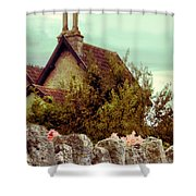Cottage Seen Over A Wall Shower Curtain