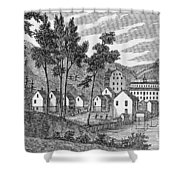 Cotton Factory Village, Glastenbury, From Connecticut Historical Collections, By John Warner Shower Curtain