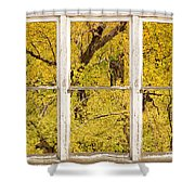 Cottonwood Fall Foliage Colors Rustic Farm Window View Shower Curtain