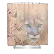 Cougar And Butterflies Shower Curtain