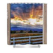 Country Beams Of Light Pealing Picture Window Frame Vie Shower Curtain
