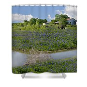 Country Blues Shower Curtain
