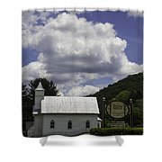 Country Church And Sign Shower Curtain