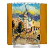 Country Church At Sunset Shower Curtain