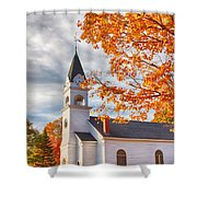 Country Church Under Fall Colors Shower Curtain