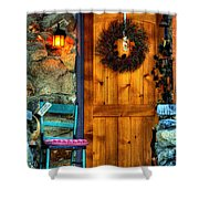 Country Cottage Door At Christmas Shower Curtain