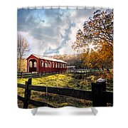 Country Covered Bridge Shower Curtain by Debra and Dave Vanderlaan