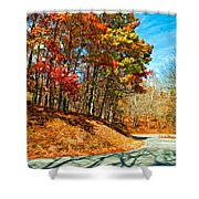 Country Curves And Vultures Paint Shower Curtain