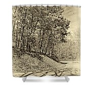 Country Curves And Vultures Sepia          Shower Curtain