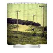 Country Dirt Road And Telephone Poles Shower Curtain