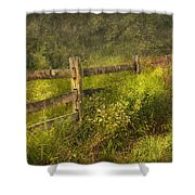 Country - Fence - County Border  Shower Curtain by Mike Savad