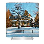 Country Home Watercolor Shower Curtain