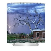 Country Horses Lightning Storm Ne Boulder County Co Hdr Shower Curtain by James BO  Insogna
