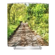 Country Lane Watercolour Shower Curtain