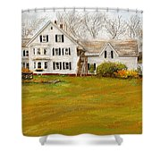 Country Moments-farmhouse In Woodstock Vermont Shower Curtain