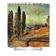 A Sunset In Tuscany Shower Curtain