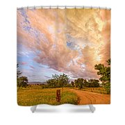 Country Road Into The Storm Front Shower Curtain