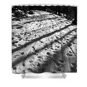 Country Road With Melting Snow In Early Spring Shower Curtain