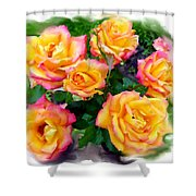 Country Roses Watercolor Shower Curtain