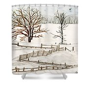 Country Snow Scene Ozaukee County Wisconsin Shower Curtain