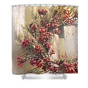 Country Wreath With Red Berries Shower Curtain