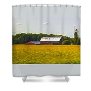 Countryside Landscape With Red Barns Shower Curtain