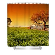 Countryside Orchard Landscape At Sunset. Spring Time Shower Curtain