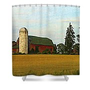 County Barn - Digital Painting Effect Shower Curtain