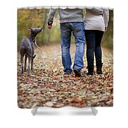 Couple And Dog Autumn Or Fall Shower Curtain