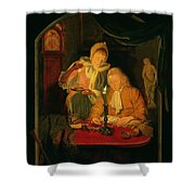 Couple Counting Money By Candlelight, 1779 Panel Shower Curtain