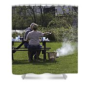 Couple Enjoying A Picnic In A Grassy Area Shower Curtain