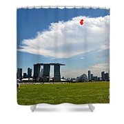 Couple Flies Kite Marina Bay Sands Singapore Shower Curtain