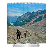 Couple Hiking On Plain Of Six Glaciers Trail  In Banff Np-albert Shower Curtain