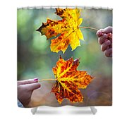 Couple Holding Autumn Leaves Shower Curtain
